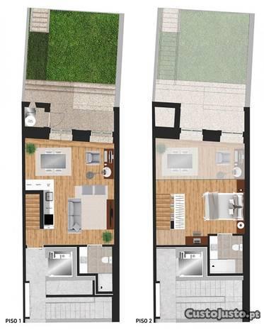 Apartamento dúplex com jardim - Metro Campanhã
